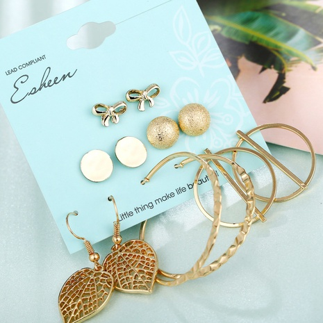 creative retro sequin bow leaf earrings set NHYI316347's discount tags