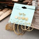 creative retro sequin bow leaf earrings set NHYI316347