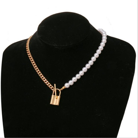 retro creative pearl metal lock pendant necklace NHYI316353's discount tags