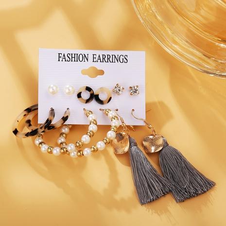 creative pearl beads sequins tassel earrings set NHYI316352's discount tags