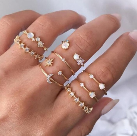 simple star crescent ring 9 piece set  NHYI316354's discount tags