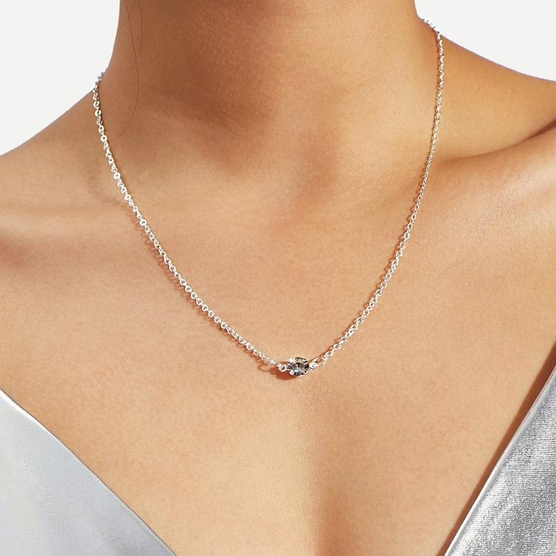 simple retro diamond necklace  NHYI316366