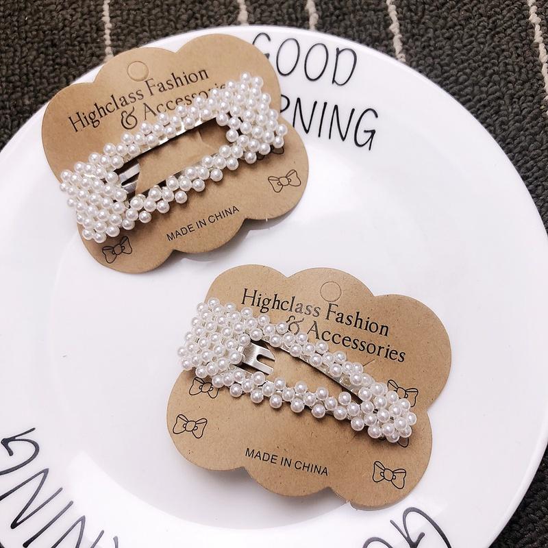 Korean simple millet bead fish pearl hair clip NHFS316414