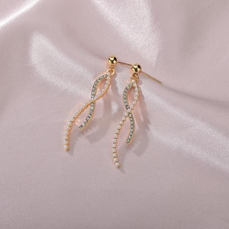 staggered rotating rhinestone pearl earrings  NHBQ316429's discount tags