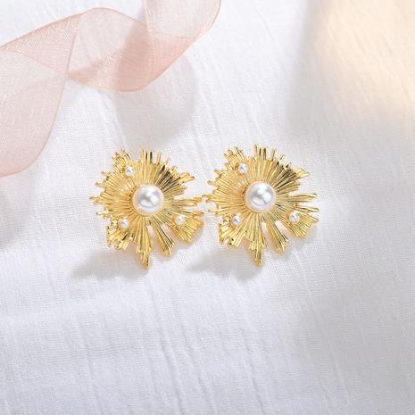 Boucles d'oreilles fleur de soleil incrustées de perles coréennes NHBQ316433's discount tags