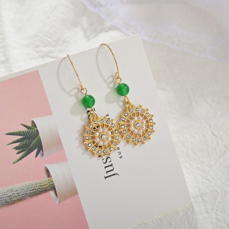 retro helmsman fashion full diamond earrings NHBQ316441