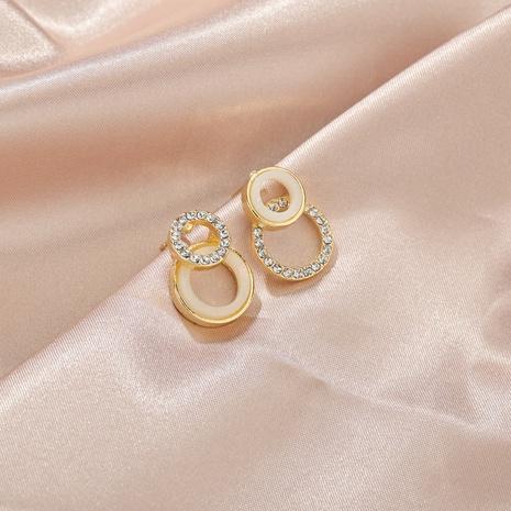 asymmetrische geometrische kleine Ohrringe mit Diamanten NHBQ316442's discount tags