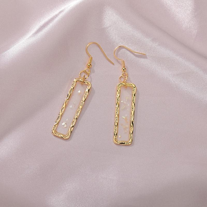 Korean simple rectangular shell earrings NHBQ316455