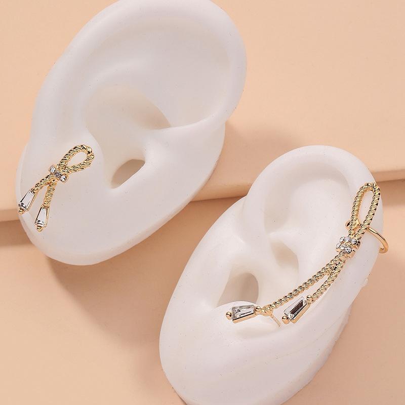 simple diamond bowknot asymmetrical earrings NHNJ316471