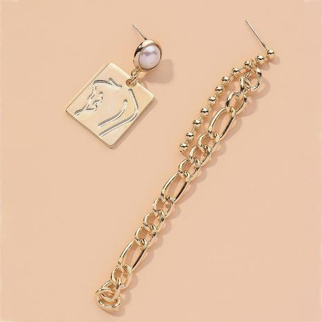 lange asymmetrische Kette quadratische Mode Ohrringe NHNJ316472's discount tags