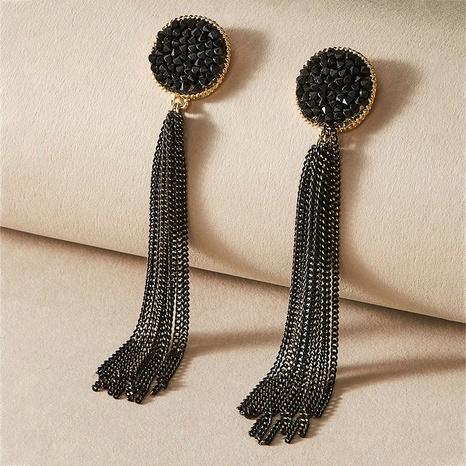 black retro long diamond tassel earrings NHNJ316474's discount tags