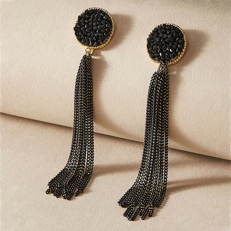 black retro long diamond tassel earrings NHNJ316474