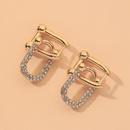 golden hollow Ushaped diamond earrings NHNJ316477