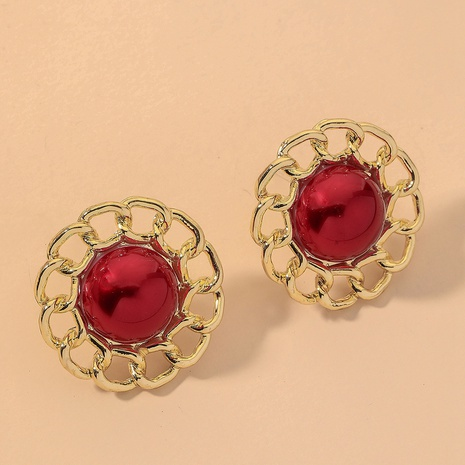 red retro hollow pearl flower earrings NHNJ316476's discount tags