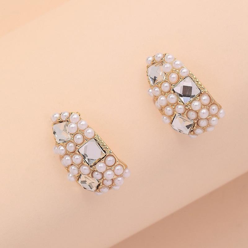 simple diamondstudded pearl arc earrings NHNJ316488