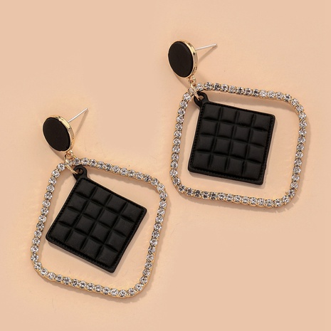 retro diamond-studded leather square earrings NHNJ316489's discount tags