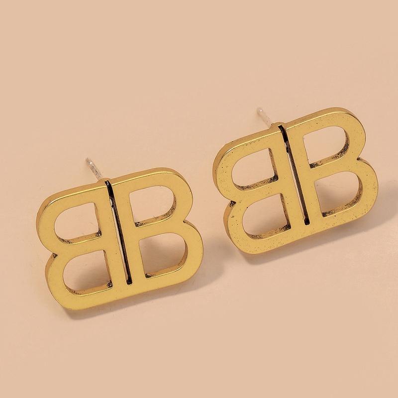metal double B letter earrings NHNJ316490