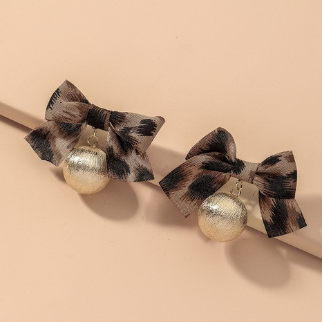 retro leopard fabric bow earrings NHNJ316496's discount tags