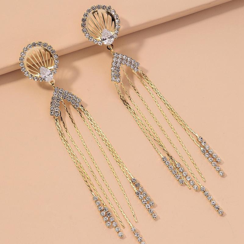 long diamond tassel retro earrings NHNJ316499