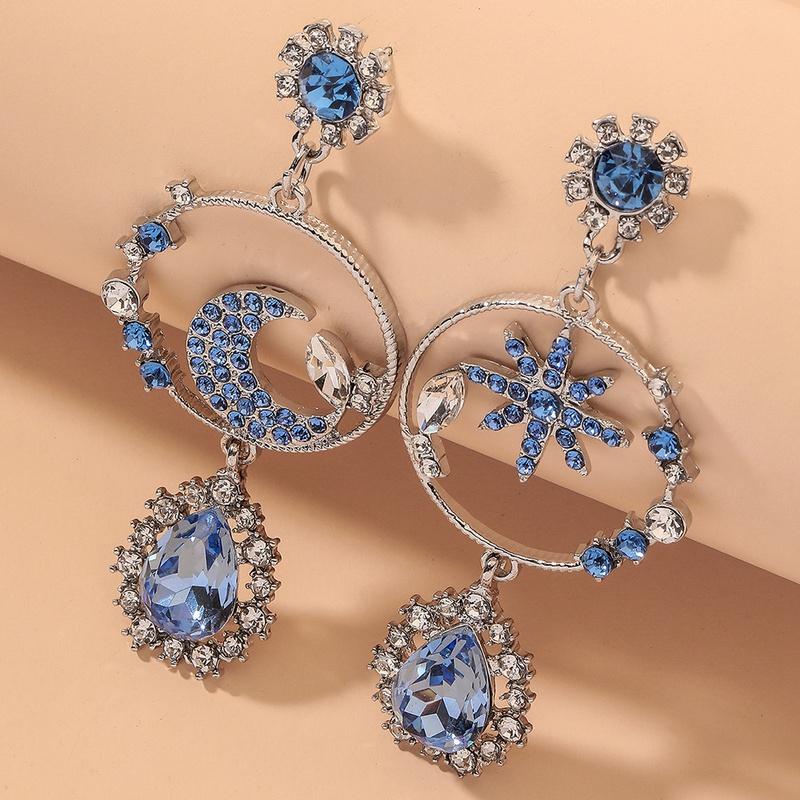 blue diamond asymmetric star and moon earrings NHNJ316504