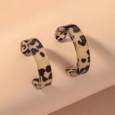 leopard print resin C-shaped earrings NHNJ316507's discount tags