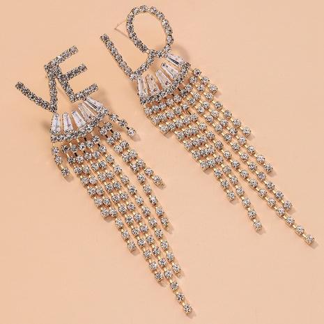 full diamond LOVE letter long asymmetrical tassel earrings NHNJ316510's discount tags