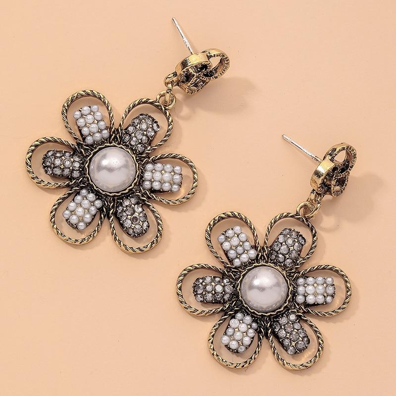 retro diamondstudded pearl flower earrings  NHNJ316515