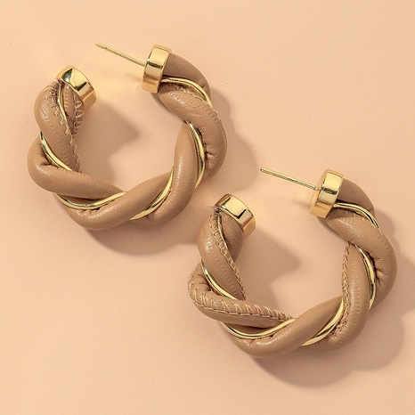 simple woven C-shaped retro leather earrings NHNJ316520's discount tags