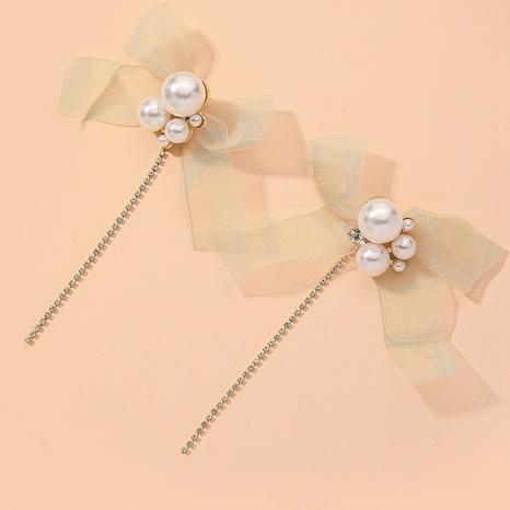 pearl bow net yarn earrings  NHNJ316519's discount tags
