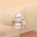 pearl bow net yarn earrings  NHNJ316519