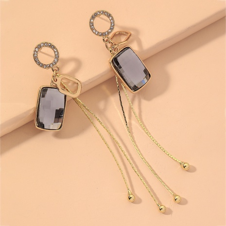 gray simple diamond square earrings  NHNJ316523's discount tags