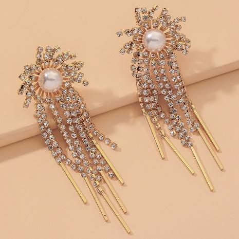 full diamond pearl flower tassel earrings NHNJ316522's discount tags