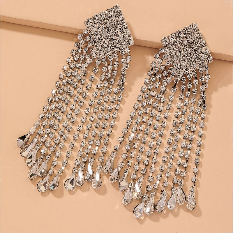 diamond long tassel fashion earrings NHNJ316525