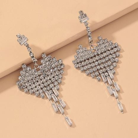zircon heart long tassel earrings  NHNJ316528's discount tags