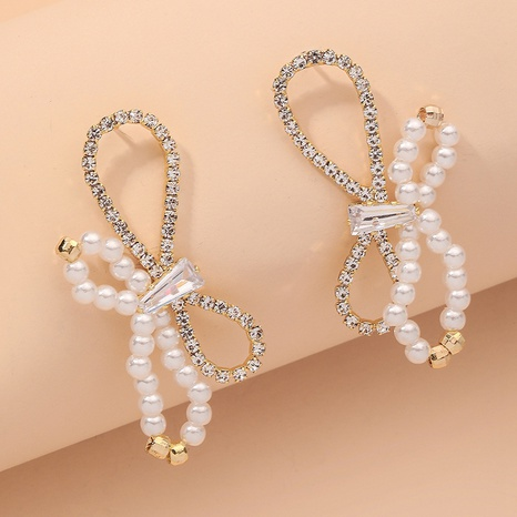 diamond-studded pearl bow retro earrings NHNJ316537's discount tags