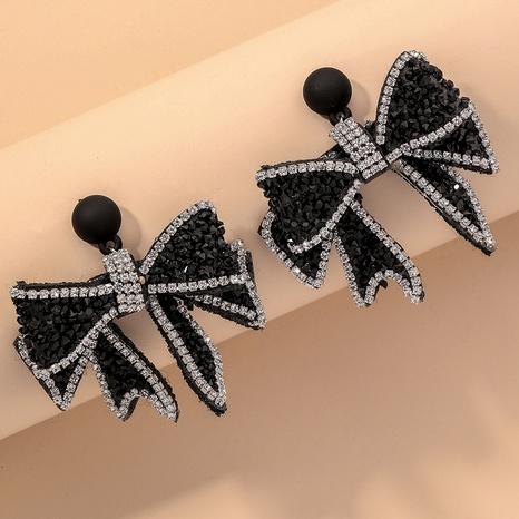 black fashion flashing diamond bow earrings  NHNJ316533's discount tags
