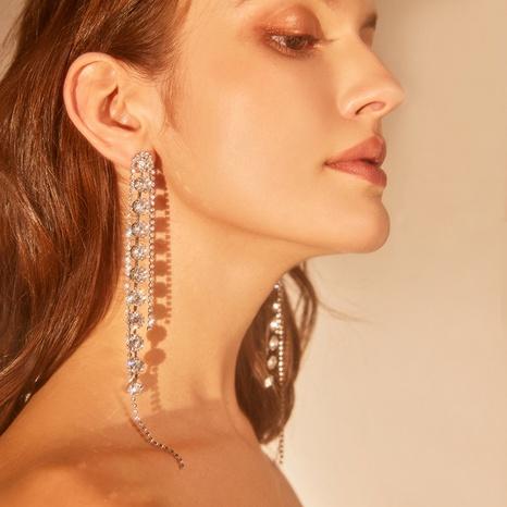 simple diamond long tassel earrings NHNJ316542's discount tags