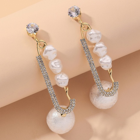 Golden Sponge Pearl Diamond Long Earrings NHNJ316546's discount tags