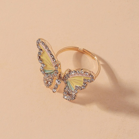simple diamond butterfly opening ring NHNJ316547's discount tags