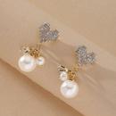 Heart Full Diamond Pearl Earrings  NHNJ316548
