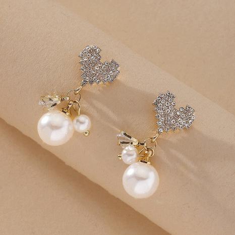 Heart Full Diamond Pearl Earrings  NHNJ316548's discount tags