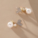 Heart Full Diamond Pearl Earrings  NHNJ316548