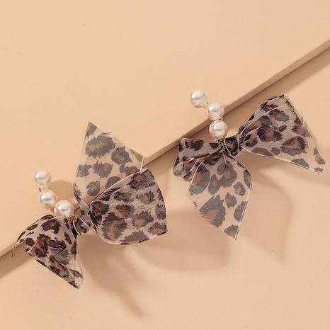 retro leopard net yarn bow pearl earrings  NHNJ316549's discount tags