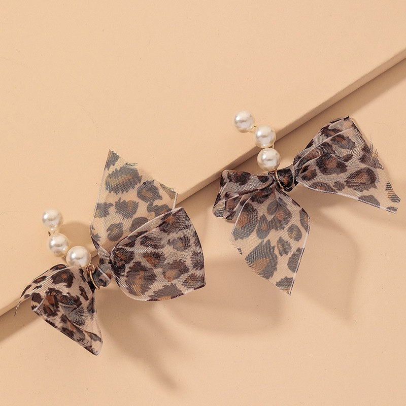 retro leopard net yarn bow pearl earrings  NHNJ316549