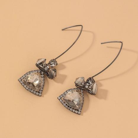 black crystal zircon bow retro earrings NHNJ316550's discount tags