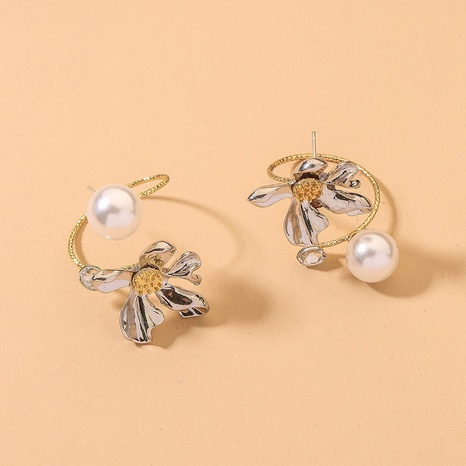 asymmetrical pearl flower earrings  NHNJ316551's discount tags