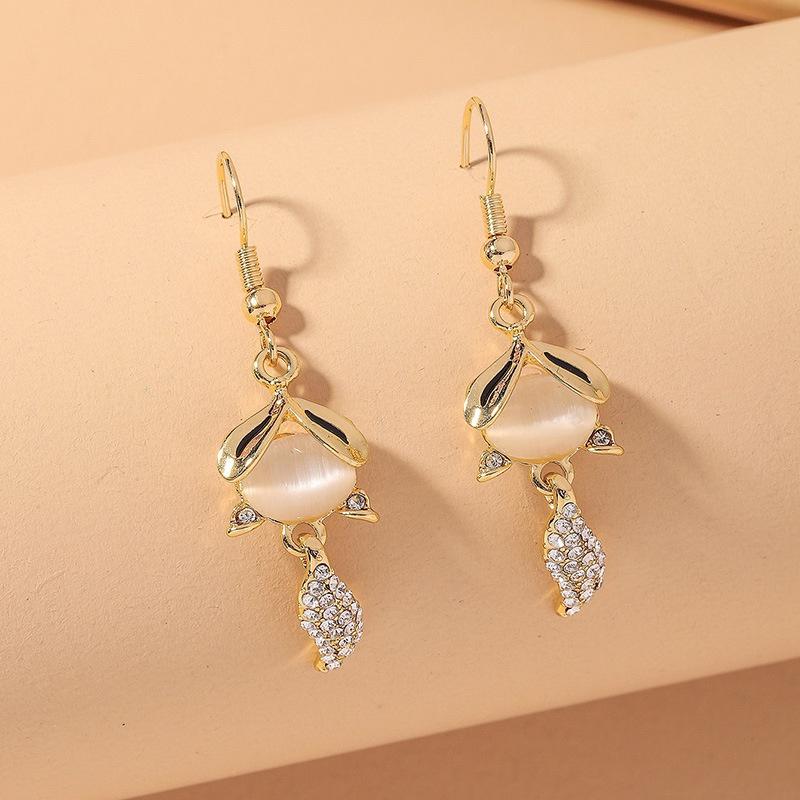 cute little fox diamond opal earrings  NHNJ316554