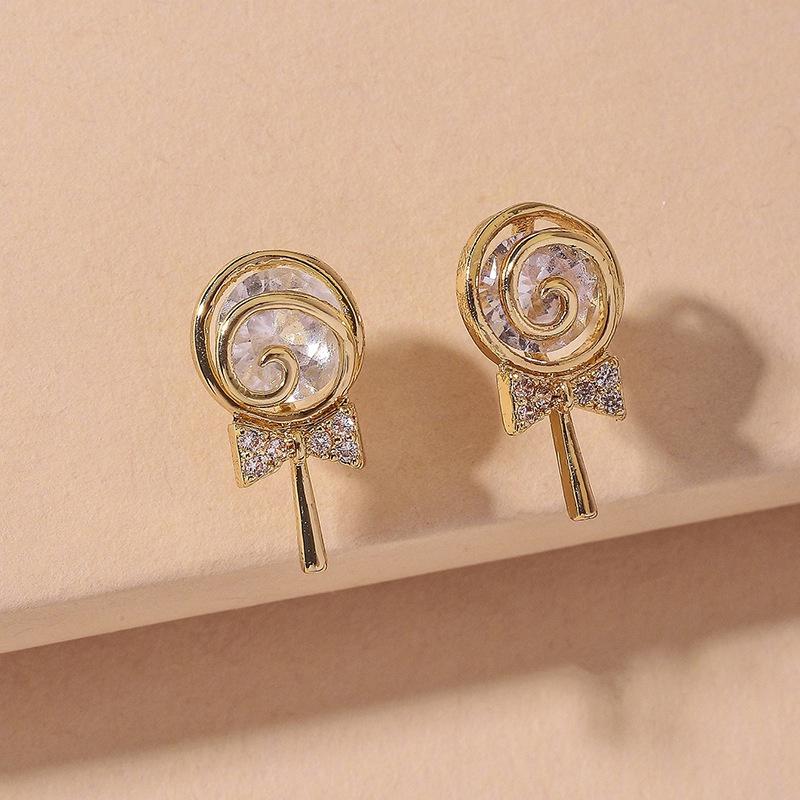 cute diamond lollipop earrings  NHNJ316556