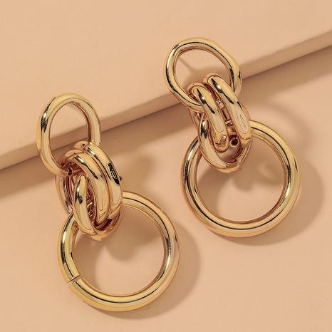 metallic geometric circle earrings  NHNJ316558's discount tags