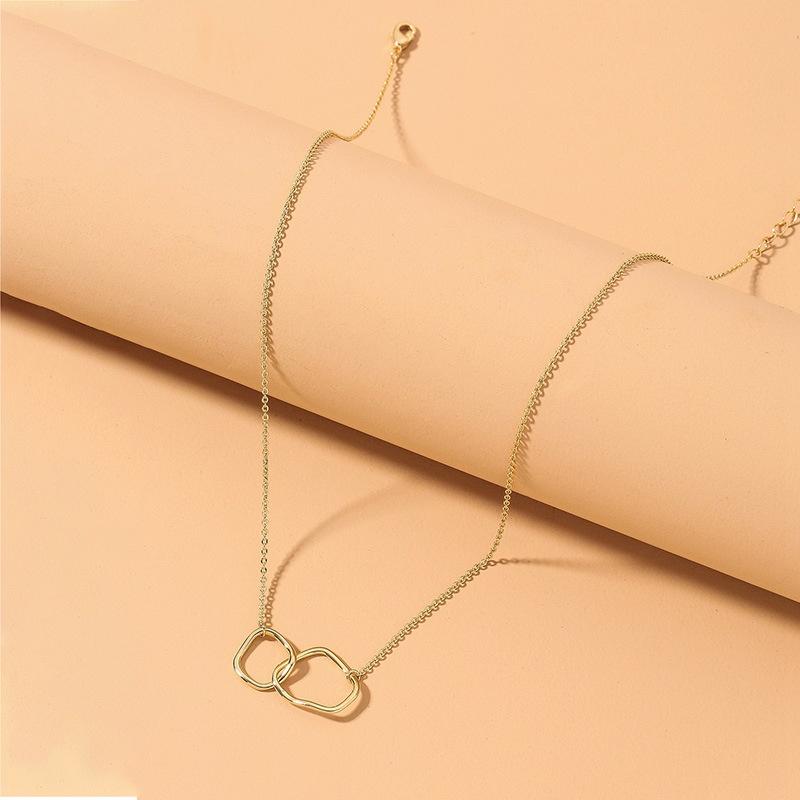 metallic geometric doublering interlocking pendant necklace NHNJ316559
